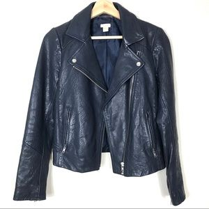 EUC J. Crew Navy Blue Leather Moto Jacket